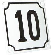Emaille huisnummer wit/zwart nr. 10 10x10cm
