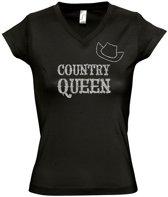 "Toppers tip: Zwart T-Shirt ""Country Queen"" (S)"