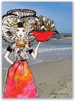 A3 poster Zeeuws meisje kleur mosselpan