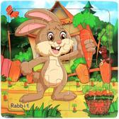 Baby/Kinder - Dieren - Puzzel - Hout - 0-4 jaar - Konijn - Formaat puzzel : 14.8 cm X 14.8 cm X 0.6 cm