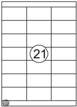 Benza Zelfklevende Etiketten op A4 Vel - 70 x 38,1 mm - 21 stickers per vel - 100 vel