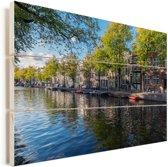De Prinsengracht in het centrum van Amsterdam Vurenhout met planken 90x60 cm - Foto print op Hout (Wanddecoratie)