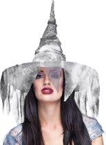 Gevallen witte heksenhoed voor vrouwen - Verkleedhoofddeksel