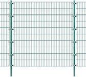 vidaXL Omheiningspaneel met palen groen ijzer 6x2 m