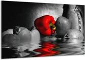 Canvas schilderij Paprika | Rood, Grijs, Zwart | 120x70cm 1Luik