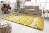 Hoogpolig Vloerkleed Inspire 160x230 cm Geel & Wit