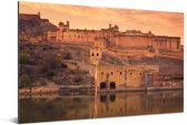 Fort Amber op de heuvels tijdens de zonsondergang in India Aluminium 60x40 cm - Foto print op Aluminium (metaal wanddecoratie)