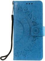 Shop4 - Xiaomi Mi 9T Pro  Hoesje - Wallet Case Mandala Patroon Blauw