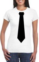Wit t-shirt met zwarte stropdas dames 2XL