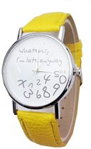 Zoëies® whatever I'm late horloge geel
