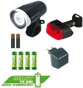 Sigma Lightster Led Fiets Verlichtingsset - Accu/Batterij - Zwart