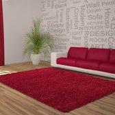 Hoogpolig shaggy vloerkleed 80x150cm rood - 5 cm poolhoogte