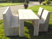 Steigerhout tuinset Basic-tafel 180x80-1 bank-2 stoelen