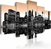 Schilderij - Sinking New York, Beige/Zwart, 2 Maten, 5luik