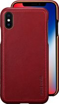 Apple iPhone X; Apple iPhone Xs Back Cover echt leer van Pierre Cardin - Rood