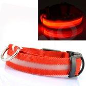 Honden halsband met led verlichting - rood/medium 36-48cm