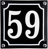 Zwart emaille huisnummer  - 59