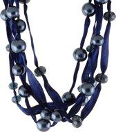 Behave® Ketting blauw lint met blauwe parels en kralen 46 cm