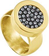 Quiges RVS Schroefsysteem Ring Goudkleurig Glans 16mm met Verwisselbare Zirkonia 12mm Mini Munt