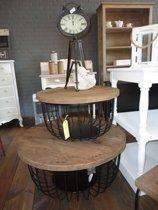 Set salontafels KORF houten blad, grijs zwart onderstel.