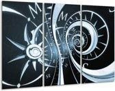 Schilderij | Canvas Schilderij Abstract | Zwart, Blauw | 120x80cm 3Luik | Foto print op Canvas