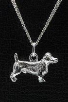 Zilveren Jack russel Terrier ruwhaar ketting hanger - groot