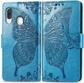 Mobigear Vlinder Bookcase Hoesje Blauw Samsung Galaxy A40