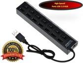 High Speed 7 Ports 2.0 USB hub Multi oplaadadapter met aan/uit knop en led verlichting.