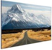 Weg naar de bergen Aluminium 120x80 cm - Foto print op Aluminium (metaal wanddecoratie)
