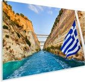 De Griekse vlag op een schip Plexiglas 120x80 cm - Foto print op Glas (Plexiglas wanddecoratie)