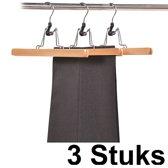 3 STUKS Luxe FSC® houten Broekhangers / Rokhangers Stevige klerenhangers met klem | Klerenhanger | Kleerhanger | Broekenstang | Broek klem | Rok Klem | 25 Cm. Breed | PAK van 3 Stuks