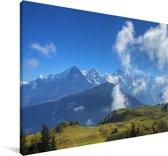 Zonnige herfstdag in de Zwitserse Alpen Canvas 120x80 cm - Foto print op Canvas schilderij (Wanddecoratie woonkamer / slaapkamer)