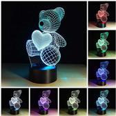 Nacht Lampje voor Kinderen - Kinderlampje - Kinder Nachtlampje - Meerdere Kleuren - Beer met Hartje - Inclusief 3 Batterijen