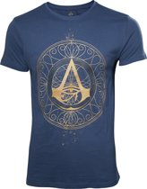 Assassin's Creed - Origins Golden Crest heren unisex T-shirt blauw - XL - Games merchandise
