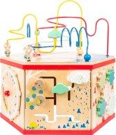 Houten kralenspiraal - activiteiten kubus - XL Motoriek trainer - 46 x 40 x 48 cm - FSC® - Hout speelgoed vanaf 1 jaar