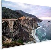 Bixby Creek Bridge aan de kust van Big Sur in Amerika Plexiglas 90x60 cm - Foto print op Glas (Plexiglas wanddecoratie)