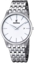 Festina F6833/1 Klassiek - Horloge- Staal - Zilverkleurig - 40 mm
