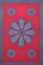 Sarong premium hamamdoek in de kleuren rood paars wit bloemen print ibiza stijl versierd met franjes 115 cm bij 165 cm uit Bali.