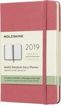 Moleskine agenda 12 maanden - Wekelijks 2019 roze - Pocket - Hard Cover