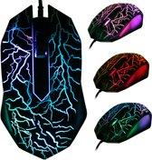 Optische 3D Gaming muis   6 verschillende LED Game verlichting   Ergonomische Game Muis   3200 DPI   USB bedraad   Zwart