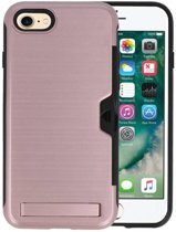 Roze Tough Armor Kaarthouder Stand Hoesje iPhone 7 / 8