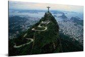 Christus de Verlosser met een uitzicht op Rio de Janeiro Aluminium 60x40 cm - Foto print op Aluminium (metaal wanddecoratie)