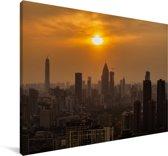 Oranje zonsondergang in Wuhan Canvas 140x90 cm - Foto print op Canvas schilderij (Wanddecoratie woonkamer / slaapkamer) / Aziatische steden Canvas Schilderijen