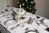 Kronhjort Kerst Tafelkleed - Katoen - 145x240 cm - Wit