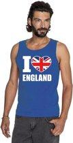 Blauw I love Groot-Brittannie supporter singlet shirt/ tanktop heren - Engels shirt heren XL