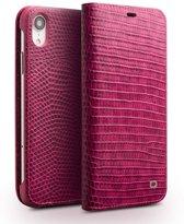 Qialino - echt lederen luxe wallet hoes - iPhone XR - Croco roze