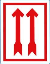 Waarschuwings etiket Rode Pijlen, 100x70mm, 500etik/rol