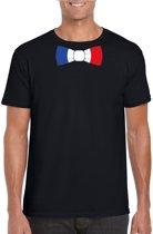 Zwart t-shirt met Franse vlag strikje heren - Frankrijk supporter S