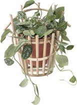 Bloomingville bloempothouder Naturel bamboe/ terracotta