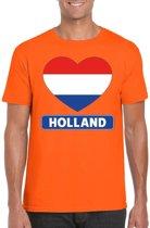 Oranje Holland hart vlag shirt heren - Oranje Koningsdag/ Holland supporter kleding XL